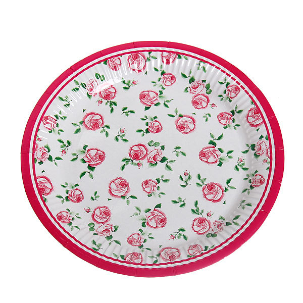 Тарелка бумажная 23 см в наборе 10 шт ″Цветы″ 02 купить оптом и в розницу