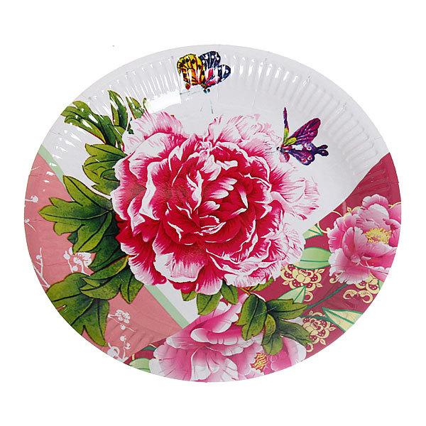 Тарелка бумажная 23 см в наборе 10 шт ″Цветы″ 05 купить оптом и в розницу