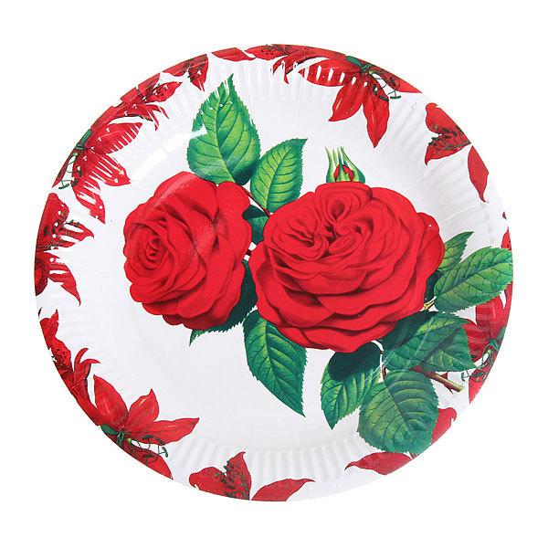 Тарелка бумажная 23 см в наборе 10 шт ″Цветы″ 06 купить оптом и в розницу