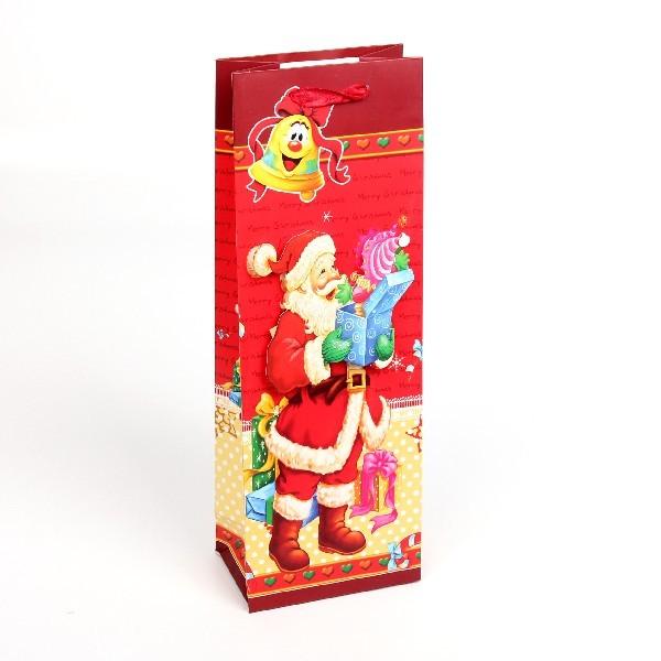 Пакет подарочный 12,7х37х8,3 см ″Новогодний″ под бутылку купить оптом и в розницу