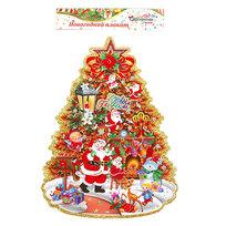 Плакат новогодний 42*35 см Елка с Дедами Морозами купить оптом и в розницу