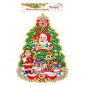 Плакат новогодний 42*35 см Елка Дед Мороз с олененком купить оптом и в розницу