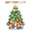 Плакат новогодний 55*34 см Елка с улыбающейся звездой купить оптом и в розницу