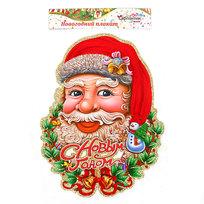 Плакат новогодний 39*30 см Дед Мороз с венком купить оптом и в розницу
