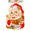 Плакат новогодний 68*52 см Дед Мороз с пером и книгой купить оптом и в розницу