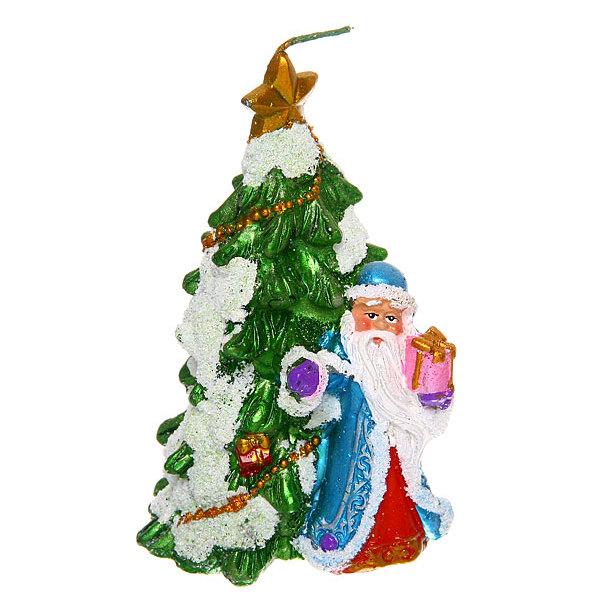 Свеча Новогодняя ″Дед Мороз у Елочки″ 13*8см купить оптом и в розницу