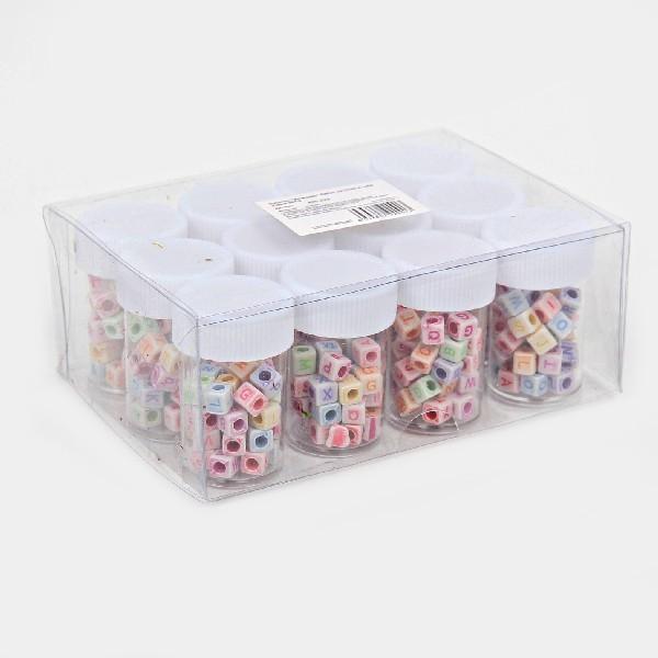 Бусины цветные Алфавит 420шт по 35шт в тубе d-5мм 364-2 купить оптом и в розницу