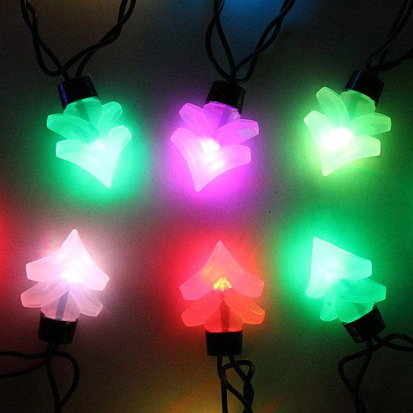 Гирлянда светодиодная 5м,20 ламп LED, Елочки, RGB( красный,зеленый,синий), авторежимы, черн.пров. купить оптом и в розницу