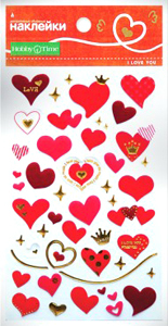 """Наклейки объемные """"Нежные сердечки"""" 10 видов купить оптом и в розницу"""