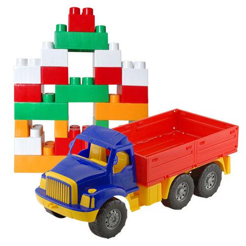 Автомобиль Магирус бортовой №3+констр-р Бэби блок 1708 /Colorplast/ купить оптом и в розницу