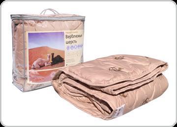 Одеяло 170х205 обл. вербл. шерсть/тик/сумка  Адамас купить оптом и в розницу