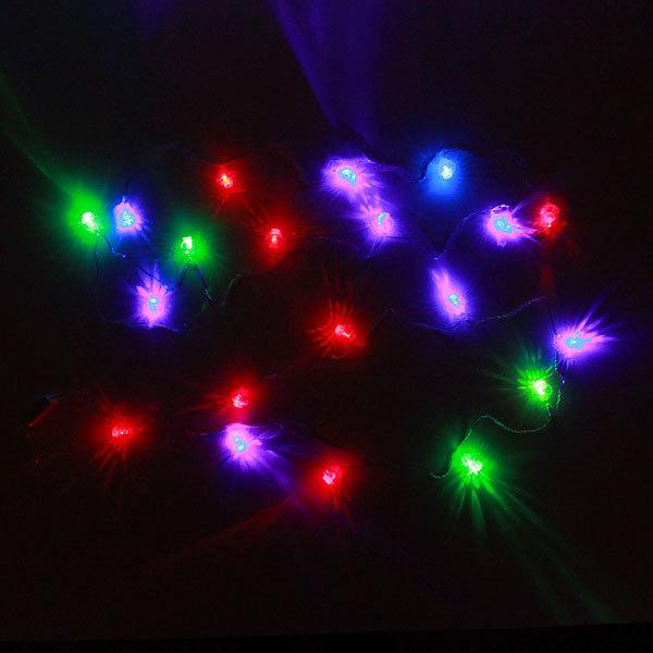Гирлянда светодиодная 2м, 20 ламп LED, Фонарь Китайский, RGB( красный,зеленый,синий),,авторежимы, прозр.пров. купить оптом и в розницу