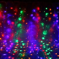 Занавес светодиодный ш 2 * в 3м, 432 ламп LED, ″Дождь″, Мультицвет, 8 реж, прозр.пров. купить оптом и в розницу