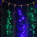 Занавес светодиодный ш 2 * в 6м, 864 лампы LED, ″Дождь″, Мультицвет, 8 реж, прозр.пров. купить оптом и в розницу