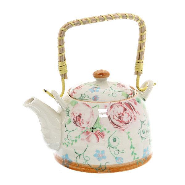 Чайник заварочный керамический 450 мл с ситом ″Чайная роза″ купить оптом и в розницу
