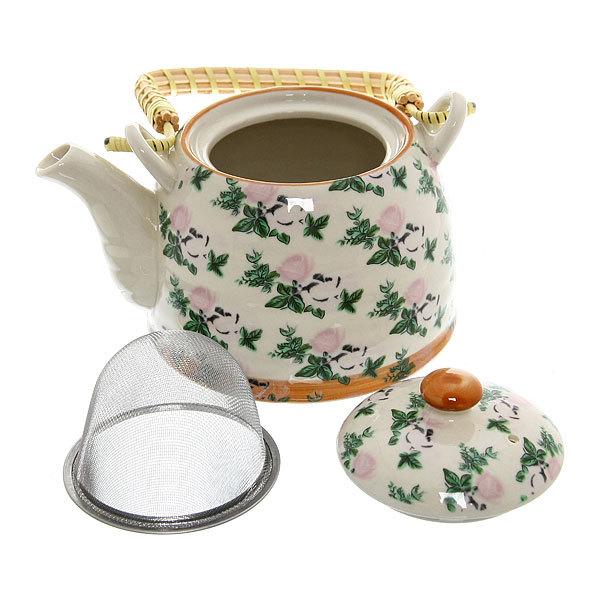 Чайник заварочный керамический 450 мл с ситом ″Розы чайные″ купить оптом и в розницу
