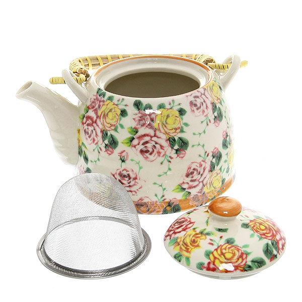 Чайник заварочный керамический 450 мл с ситом ″Розы″ купить оптом и в розницу