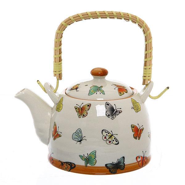 Чайник заварочный керамический 450 мл с ситом ″Бабочки″ 661-4 купить оптом и в розницу