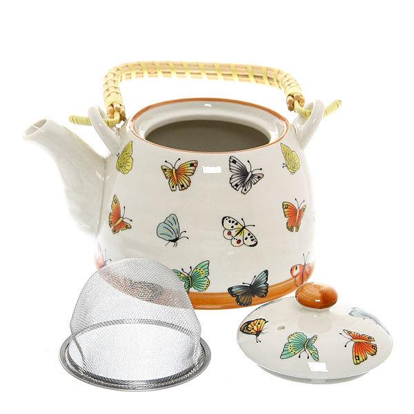 Чайник заварочный керамический 450 мл с ситом ″Бабочки″ купить оптом и в розницу