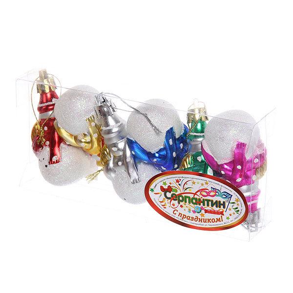 Ёлочные игрушки, набор 6шт, 6см ″Снеговичок блеск″ купить оптом и в розницу