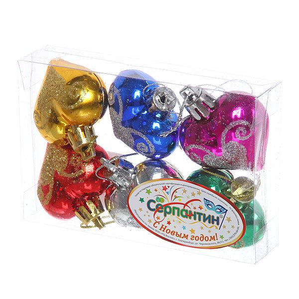 Ёлочные игрушки ″Сердечки узор″ 4см микс цветов (набор 6шт) купить оптом и в розницу