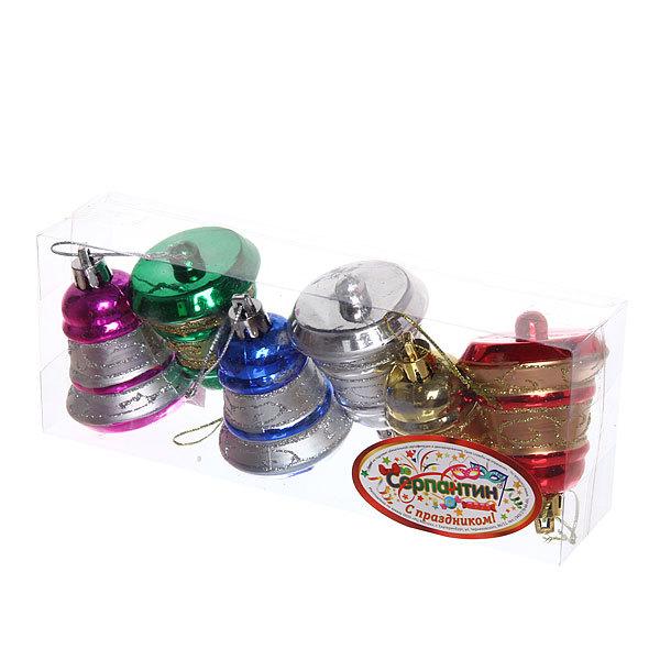 Ёлочные игрушки, набор 6шт, 7см ″Колокольчики новогодние″ микс купить оптом и в розницу