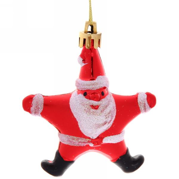 Ёлочная игрушка, набор 4шт, 8см ″Звездочка Дед Мороз″ купить оптом и в розницу