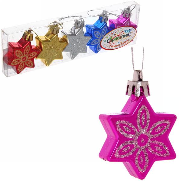 Ёлочные игрушки, набор 5шт, 5см ″Звездочка цветок″ микс купить оптом и в розницу