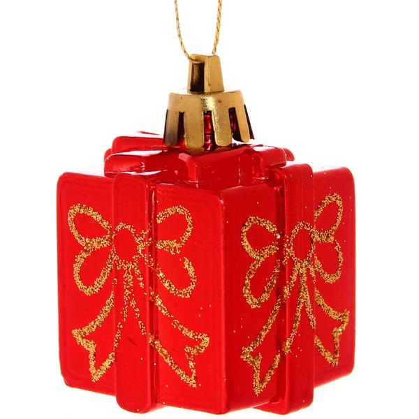 Ёлочные игрушки, набор 4шт, 6см ″Подарочек горошек″ купить оптом и в розницу