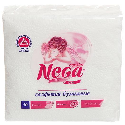 Салфетки бумажные 1сл. 50л Нега (лимон, белые) купить оптом и в розницу