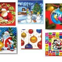 Салфетки бумажные Новогодние Нега 3-х сл в асс (новогодние, с рисунком) 33х33 7631 купить оптом и в розницу