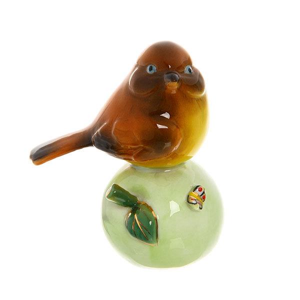Фигурка из керамики ″Воробушек на яблочке″ 8см Y3AA-15435 купить оптом и в розницу