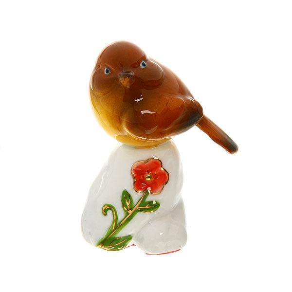 Фигурка керамическая ″Воробушек на камушке″, 8см купить оптом и в розницу