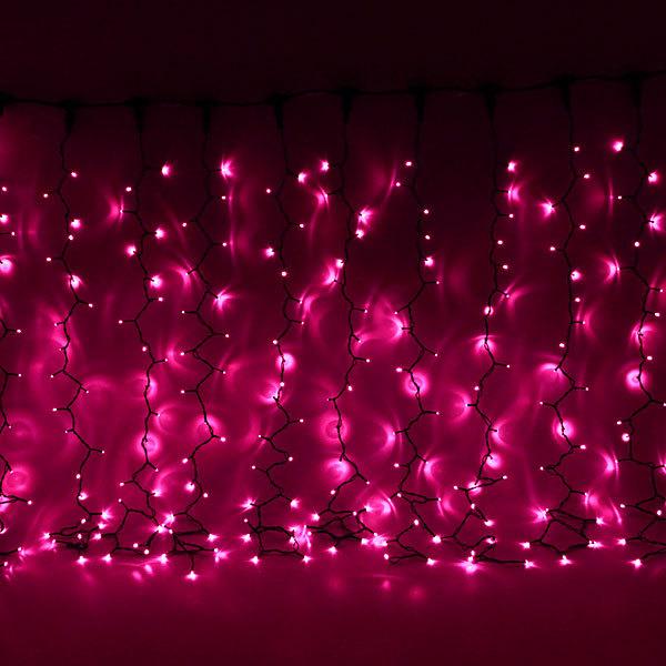 Занавес светодиодный ш 2 * в 1,5м, 276 лампы LED, ″Дождь″, Розовый, 8 реж, черн.пров купить оптом и в розницу