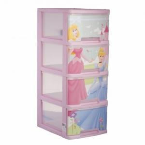 Комод DISNEY PRINCESS 4х10 л прозрачный/розовый купить оптом и в розницу