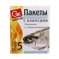 Пакеты для запекания рыбы 25*55 см, 5 штук, клипсы, шоу-бокс GRIFON /96/24/1 101-210 купить оптом и в розницу
