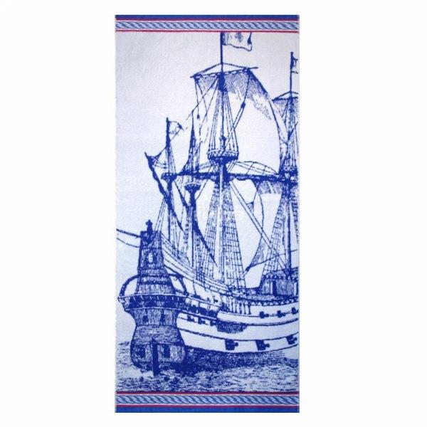 Махровое полотенце 70*140см синее море пестротканное пляжное ЖК140-4-122-103 купить оптом и в розницу
