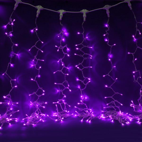 Занавес светодиодный ш 2 * в 3м, 432 ламп LED, ″Дождь″, Фиолетовый, 8 реж, прозр.пров. купить оптом и в розницу