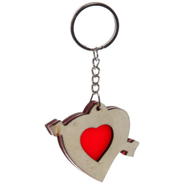 Брелок из дерева ″Деревянный калейдоскоп″ Сердце со стрелой, 5см купить оптом и в розницу