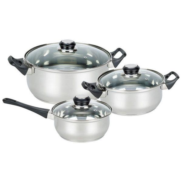 Набор посуды из нержавеющей стали 3 предмета: 2 кастрюли 2л и 2,8л, ковш 1,4л купить оптом и в розницу