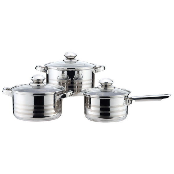 Набор посуды из нержавеющей стали 3 предмета: 2 кастрюли 18, 20см, ковш 16см купить оптом и в розницу