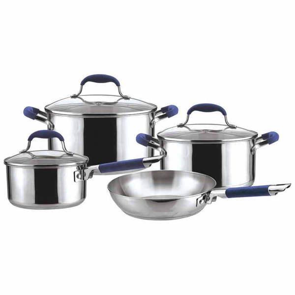 Набор посуды из нержавеющей стали 7 предметов: 2 кастрюли 20, 24см, ковш 16см, сковорода 24см купить оптом и в розницу