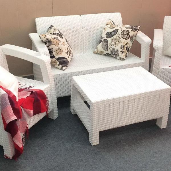 Комплект мебели ротанг(2ух местный диван +2 кресла+ столик )  Yalta Set  Цвет слоновая кость купить оптом и в розницу