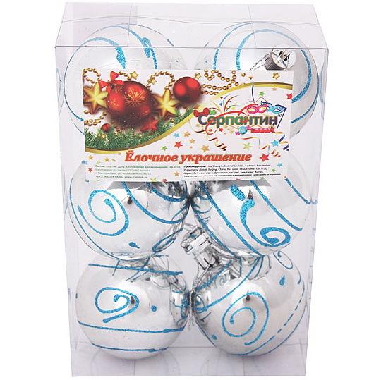 Новогодние шары ″Голубой узор″ 6см (набор 6шт.) купить оптом и в розницу