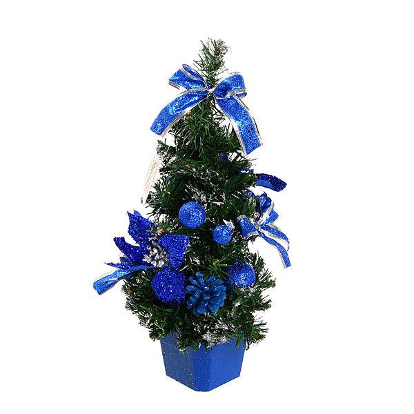 Елка искусственная 40см с украшениями синий C-13337 купить оптом и в розницу
