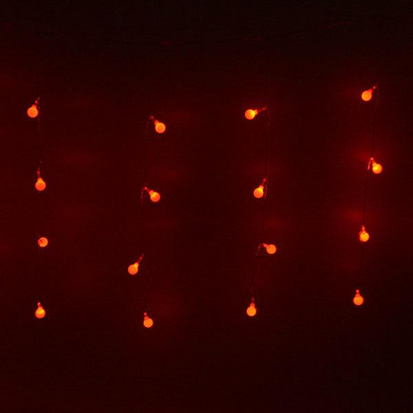 Бахрома светодиодная 2,5 х 0,6м, 48 ламп LED, Шар, Красный, 8реж,прозр.пров,с возм.соед, 12 нитей купить оптом и в розницу