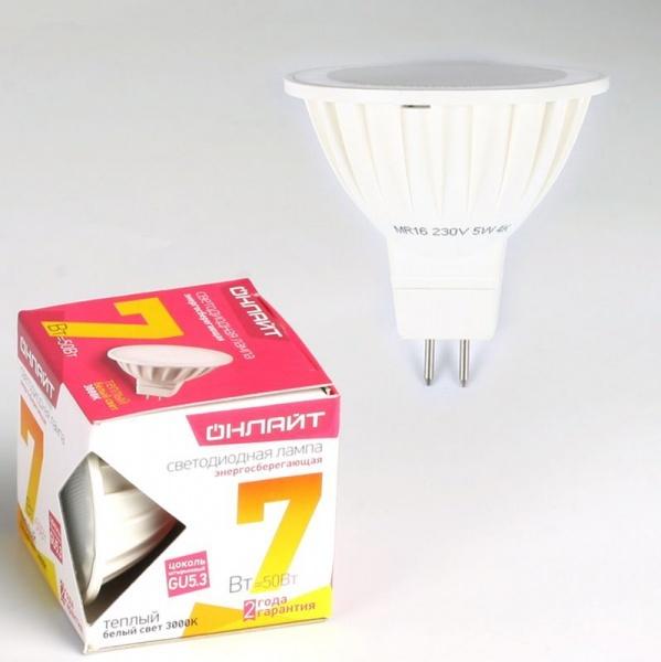 Лампа светодиодная ОНЛАЙТ ОLL-MR16-7-230-3K-GU5.3 (10/200) купить оптом и в розницу