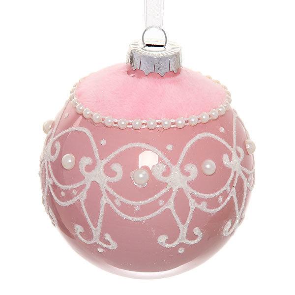 Новогодний шар ″Нежный узор.Розовый″ 8см купить оптом и в розницу