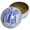 Ёлочный шар-шкатулка жестяной 7 см Гжель купить оптом и в розницу