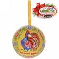 Ёлочный шар-шкатулка жестяной 7 см Городецкая роспись купить оптом и в розницу